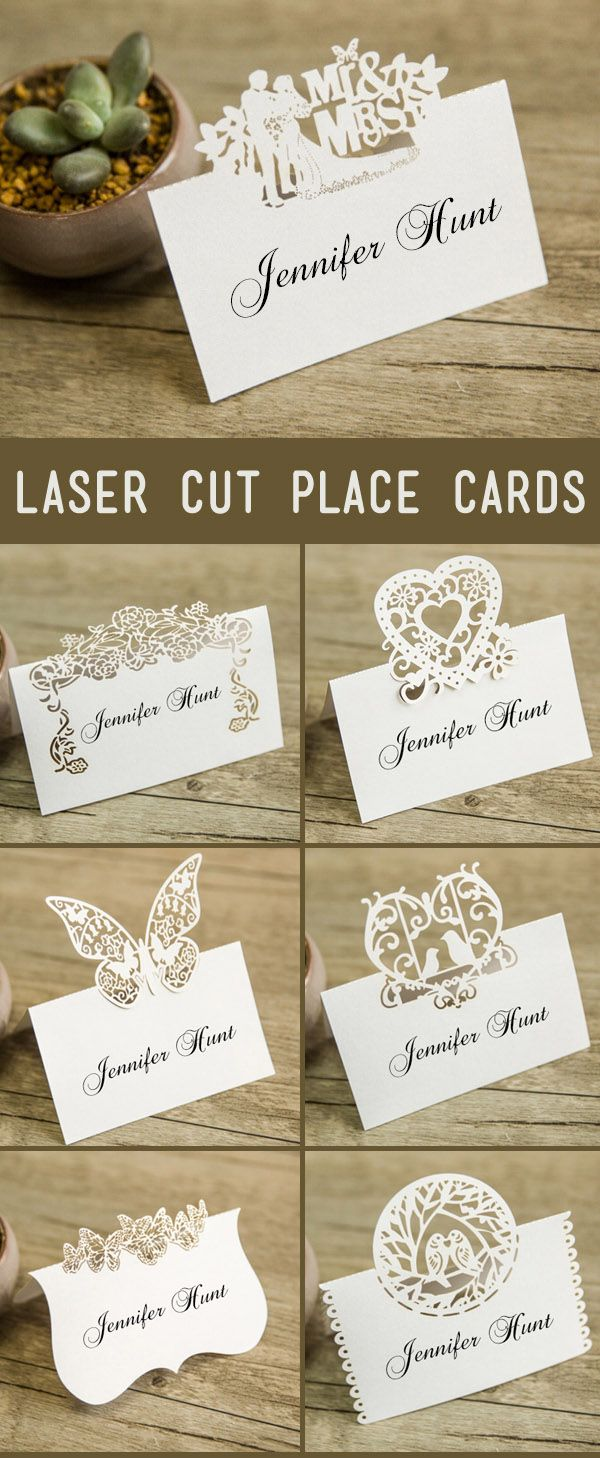 pretty laser cut wedding place cards ideas with different color options