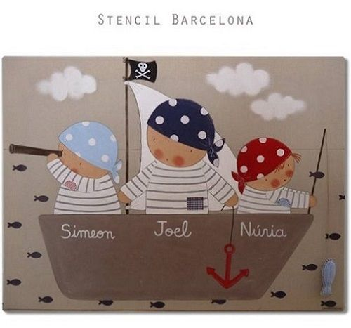 Cuadros bebes personalizados y murales infantiles. Stencil Barcelona - Mamidecora.com