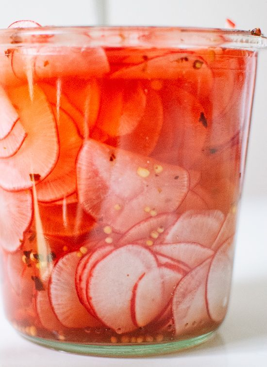 Quick pickled radishes for tacos, salads, burgers and more! http://cookieandkate.com
