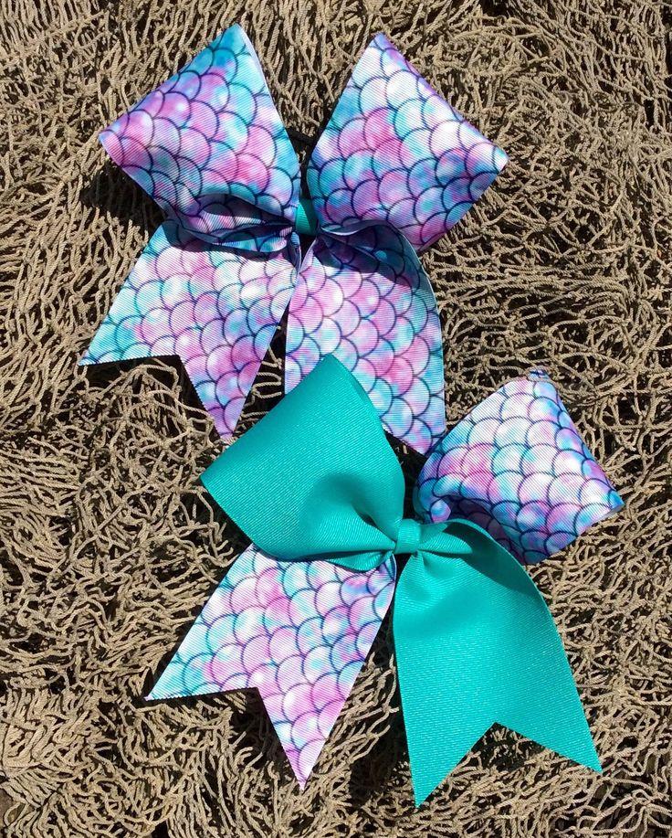 Mermaid Cheer Bow. Cheerleading accessories. Cheer gifts. Mermaid scales. Under the sea hair bow.