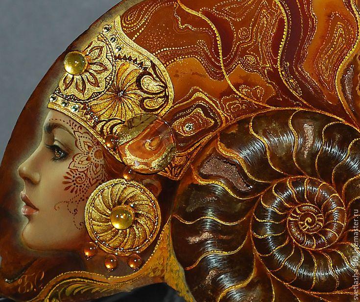 """Купить Аммонит """"Солнечное Сияние"""" - комбинированный, аммонит, лаковая миниатюра, живопись маслом, живопись на камне"""