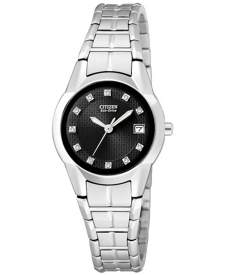 Citizen Watch, Women's Eco Drive Dress Diamond Accent Stainless Steel Bracelet 25mm EW1410-50G - Women's Watches - Jewelry & Watches - Macy's