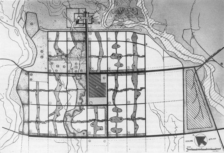 Ле Корбюзье / Le Corbusier. Окончательный генеральный план первой очереди строительства Чандигарха, 1952