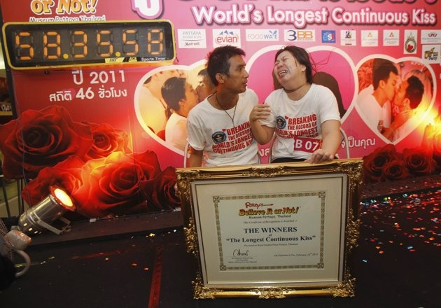 Thai couple sets record for world's longest kiss.