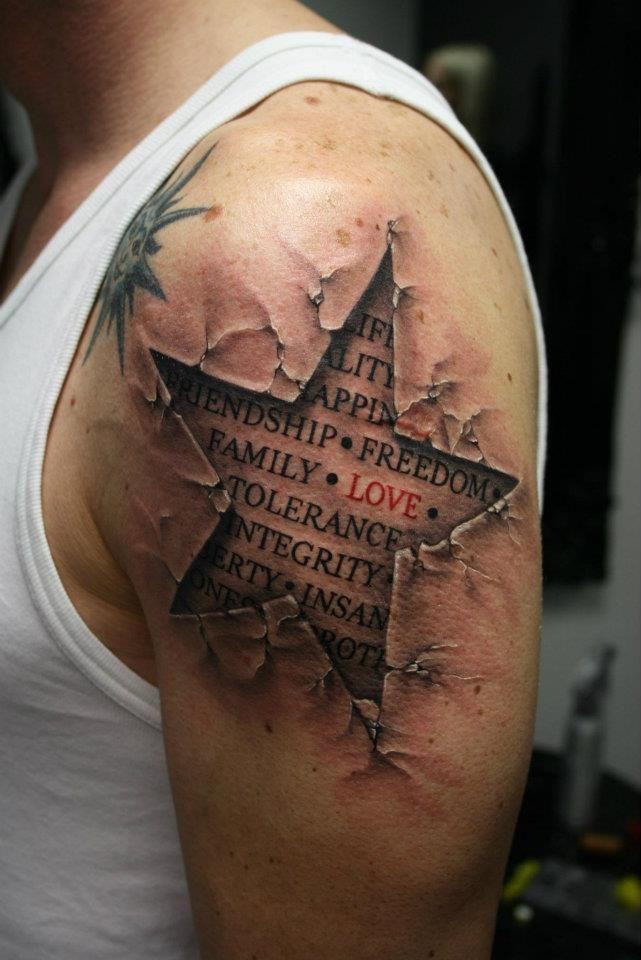 Life - Quality - Happiness - Friendship - Freedom - Family - Love - Tolerance - Integrity - Liberty - InsanityTattoo Ideas, Stars Tattoo, 3D Tattoo, Awesome Tattoo, Body Art, A Tattoo, Tattoo Design, Amazing Tattoo, Ink