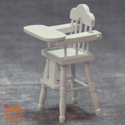 1:12娃娃屋装饰迷你家具模型过家家玩具白色婴幼儿餐椅袖珍高脚椅-淘宝网