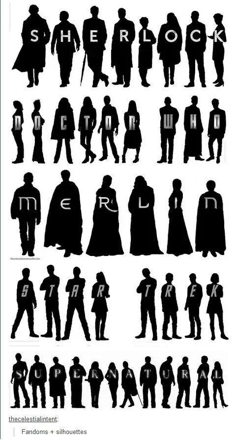 Fandoms Silhouettes repinning because they included Merlin. I always love it when Merlin is included :)