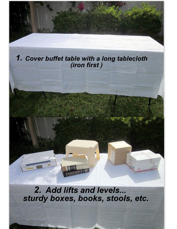 PARTY PLANNING | Trust me...you can do this! Home Goods shows you how to make an impressive tablescape in about 10 minutes. Create visual interest and food stations with boxes, books, paint cans, unused tupperware - you name it. Make sure it's sturdy enough to keep a serving dish from being tipped! It has a big impact for the cost of a couple of tablecloths and can be used time and time again.