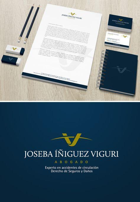"""JOSEBA IÑIGUEZ VIGURI: Identidad corporativa para un abogado especializado en derecho de daños y también derecho de seguros, penal, herencias, matrimonial, etc...El icono definitivo se basa en una """"V"""" que surge de la suma de una """"I"""" y una """"J"""". La forma de la """"V"""" evoca el concepto de equilibrio, de imparcialidad, de balanza....y el arco que la corta refuerza esa idea y sugiere además la idea de protección, seguridad..."""