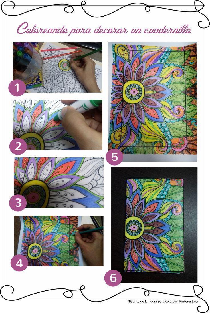 COLOREAR una figura, a tu gusto, y úsalo para forrar o decorar un cuaderno. En este caso, lo usé para decorar un cuadernillo de cartoncillo. ¡Lindo y facilito! Tómate tu tiempo y que sea algo que disfrutes hacer.