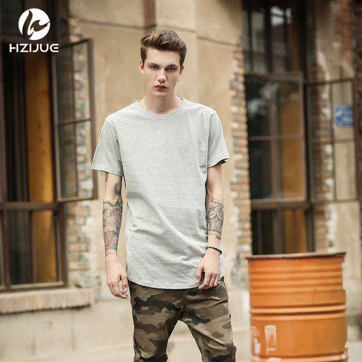 12.95$  Buy here - http://aiu33.worlditems.win/redirect/32626130613 - HZIJUE 2017 s/s men extended kanye  t-shirt cotton swag mens t shirts skateboard tshirt solid hip hop T shirt men's tees tops   #bestbuy