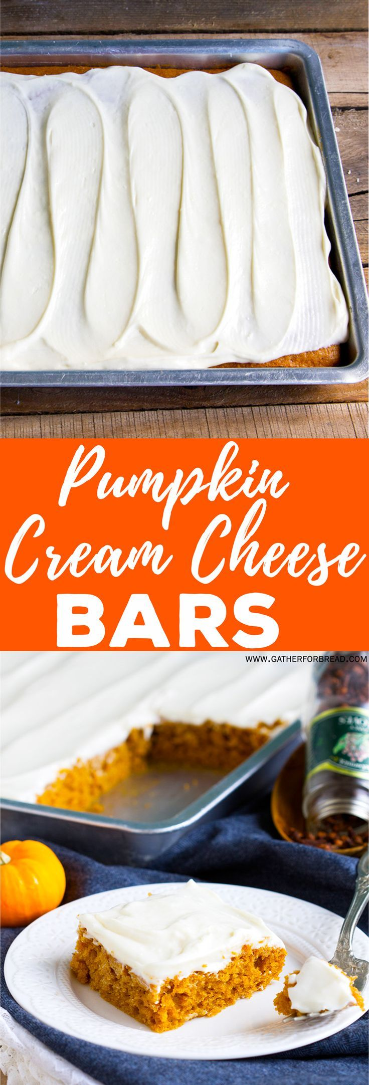 Pumpkin Cream Cheese Bars - Recipe for homemade pumpkin bars with a rich creamy frosting. This fall dessert is an easy family FAVORITE!
