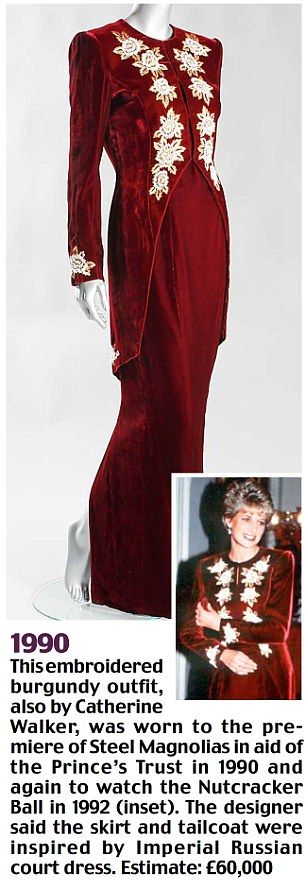 Diana wore this gown by Catherine Walker in 1990 to the premiere of Steel Magnolias in aid of the Prince's Trust and again to watch the Nutcracker Ball in 1992