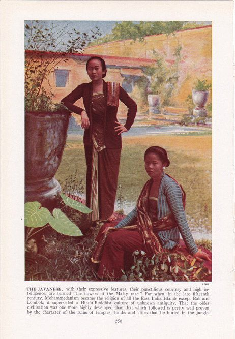 "Javanese women - ""flowers of the Malay race"" - color plate from 1940's book by route44west, $10.00"