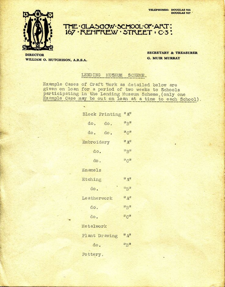This document discussing the Lending Museum Scheme at the GSA from the early 20th century references a group of example cases of craft work, including the cases that remain in our collection today. The labels attached to our cases match up with the lettering system found in this document. These displays would have travelled to local schools in Glasgow as resources for students. Archive reference: GSAA/ISE/4/6