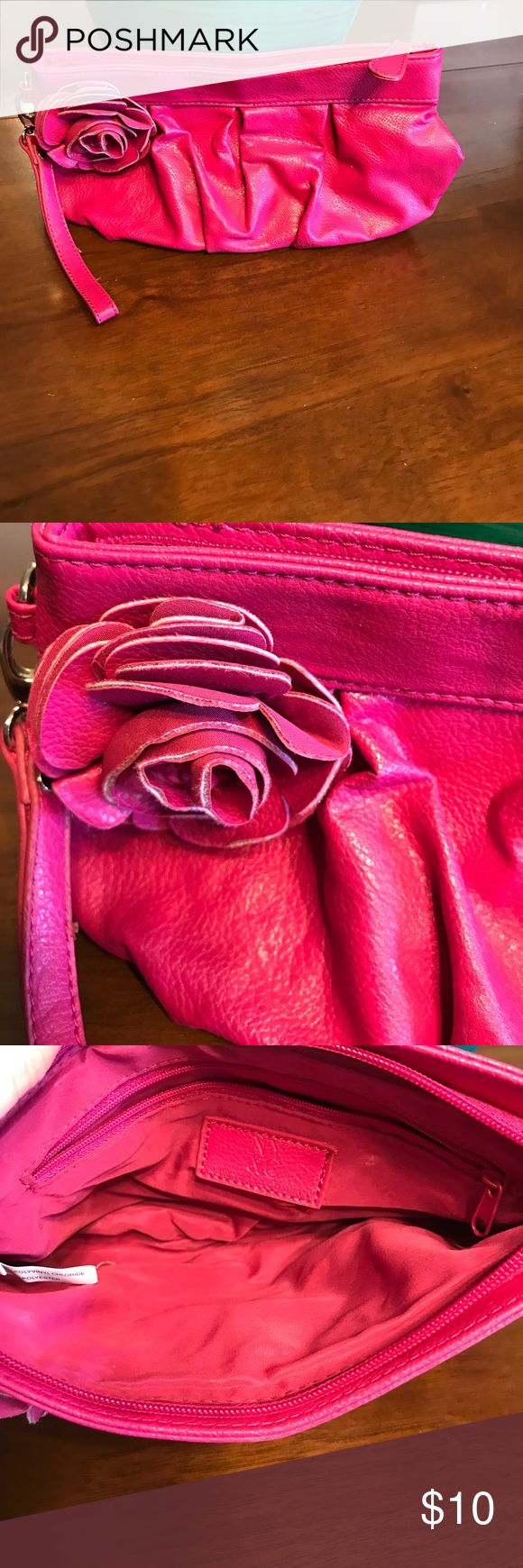 NY&CO PINK CLUTCH BAG Super cute hot pink color!! Some marks on bottom of bag as shown in photo. Very soft! New York & Company Bags Clutches & Wristlets