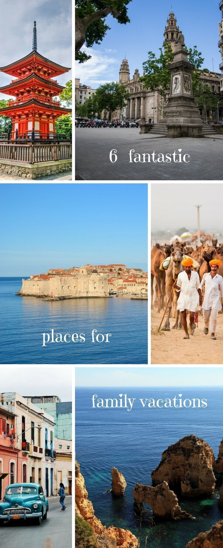 From the beaches of Croatia and Portugal to the culture of India and Japan to the Latin experience of Spain and Cuba. Try these 6 red-hot family vacation destinations | family travel | beach holidays | take the kids | family vacation | #familyvacationdestinationsbeach #familyvacationspots