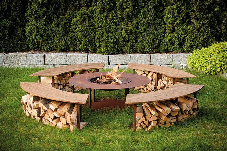 Feuerstelle Circle incl. 4 Bänken und Grillrost Edelsrost Grill Grillstelle in Garten & Terrasse, Grills, Öfen & Heizstrahler, Grills | eBay