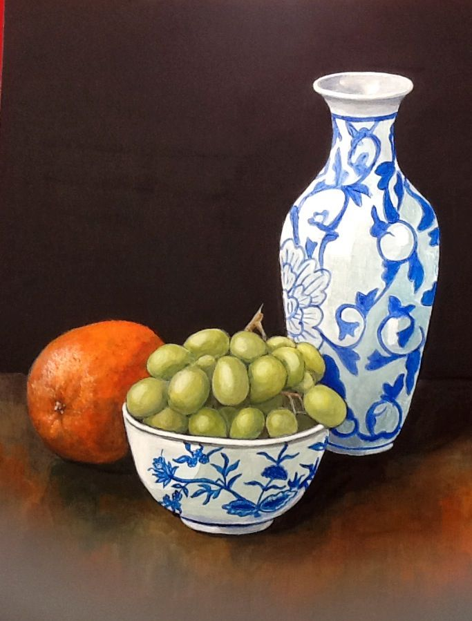 Blue and White Pots with Orange - acrylic