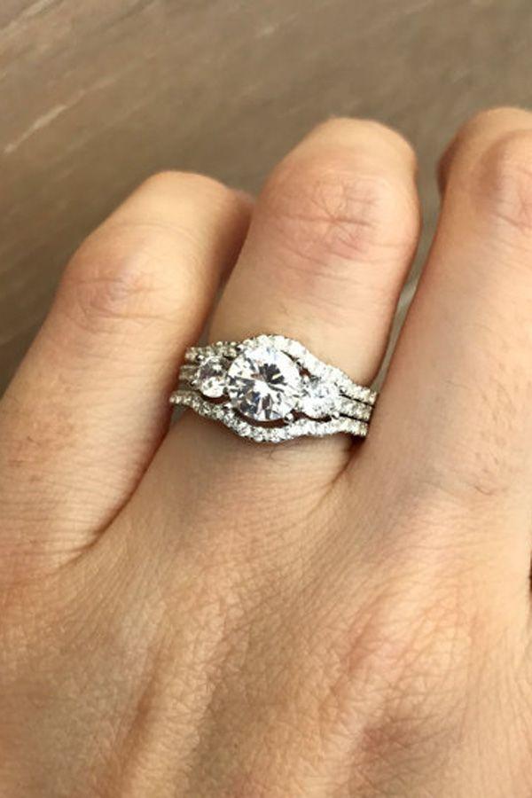 Rose Gold Bridal Set Ring Three Stone Engagement Ring Set Matching Band Pro Promise Ring Wedding Ring Rose Gold Bridal Set Rings Three Stone Engagement Rings