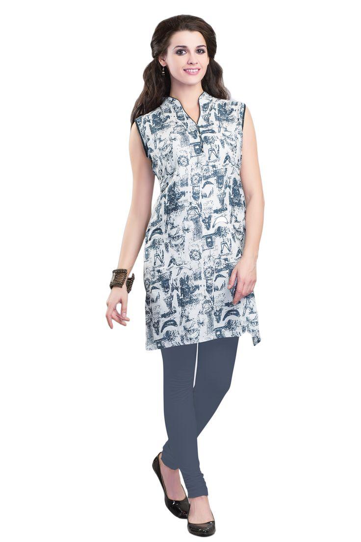 #Grey&White #Kurti #Casualwear #Officewear #Occasionalwear buy at salwarstudio.com