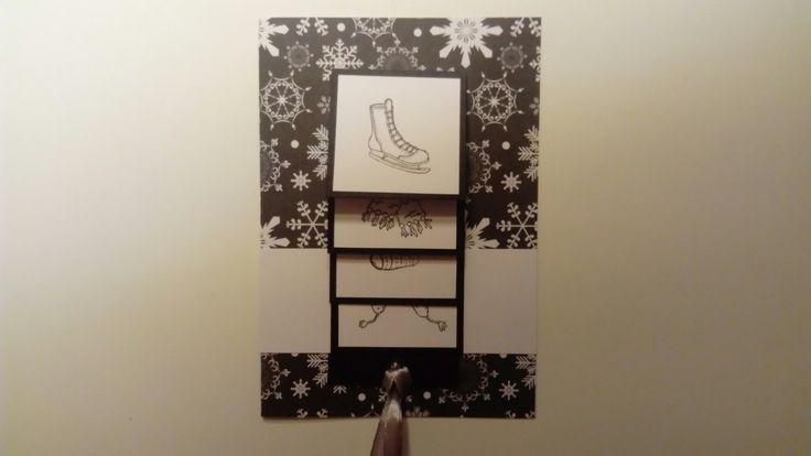 Waterval kerst kaart gemaakt met designer papier (Wibra) en stempels (Marianne Design).