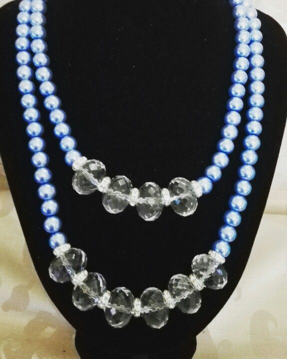 Blue and clear statement necklace