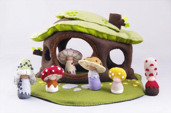 Organic felt soft dollhouse Waldorf style toy Eco by shroompers