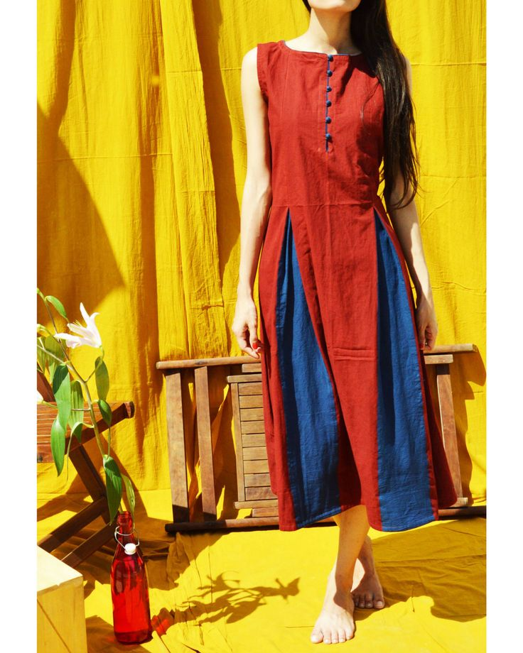 The Secret Label Red Cotton Printed Kurti