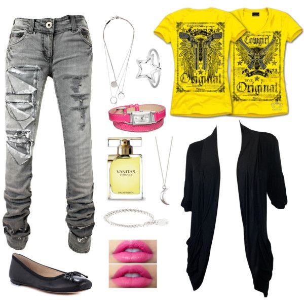 """Torn denim, ballet flats, candy pink, graphic yellow tee, moon and stars"" by atayn on Polyvore"