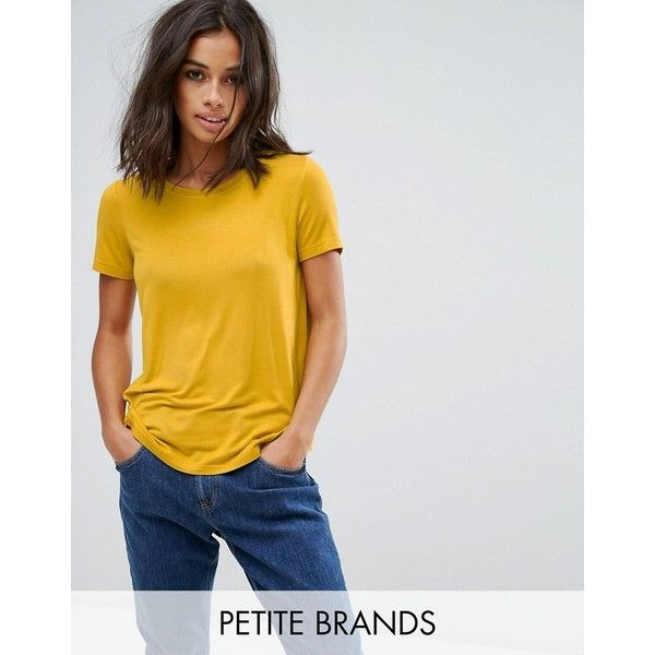 Noisy May Petite T-Shirt ($23) ❤ liked on Polyvore featuring tops, t-shirts, petite, yellow, tall t shirts, petite tops, oversized tees, petite tee and yellow tee