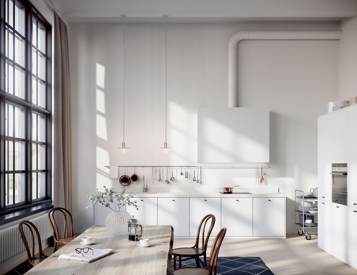 Oscar Properties #oscarproperties   Stockholm, Radiofabriken, Industriverket, window, lights, kitchen, kök, industri, vitt, matbord, thonet, design, marble, factory