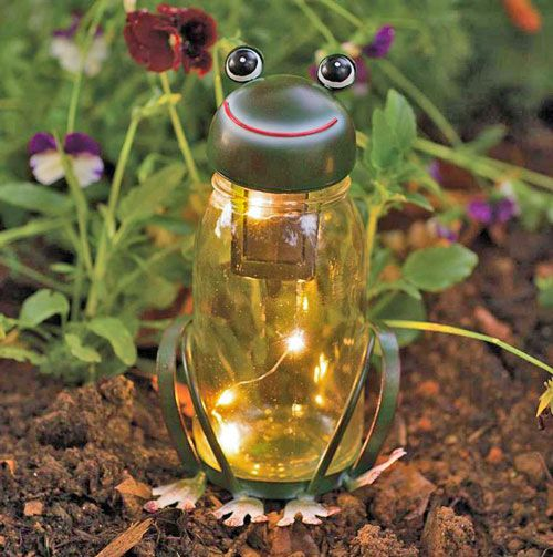 Flying Cloud Gifts has this cute Frog Solar Light, which is LED