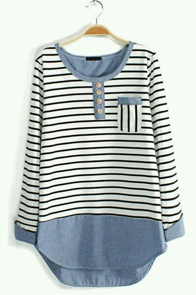 Love this casual top with black leggings and sneakers, like the mix of stripes and denim here but I could do without the buttons and the pocket and maybe 3/4 length sleeves instead of full sleeve