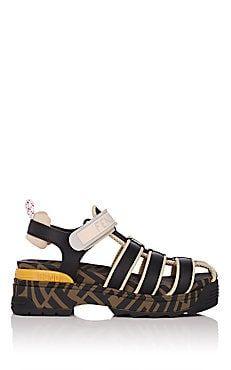 09e0ea19d1d2 Fendi Logo Mixed-Media Sandals