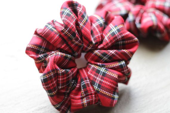 Red Tartan Scrunchie by Rusticmintx on Etsy
