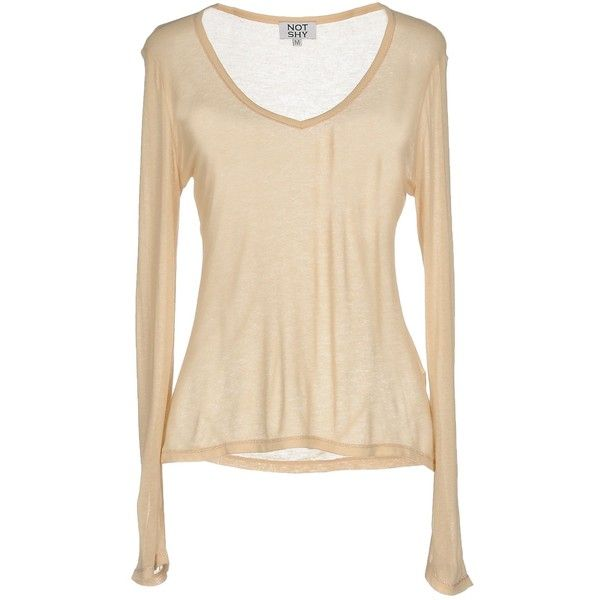 Not Shy Jumper ($79) ❤ liked on Polyvore featuring tops, sweaters, beige, v-neck sweater, v neck tops, beige long sleeve top, beige top and long sleeve tops