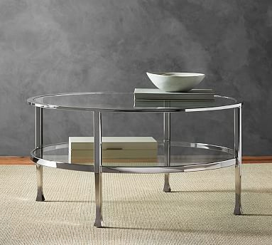 Tanner Round Coffee Table - Polished Nickel finish #potterybarn