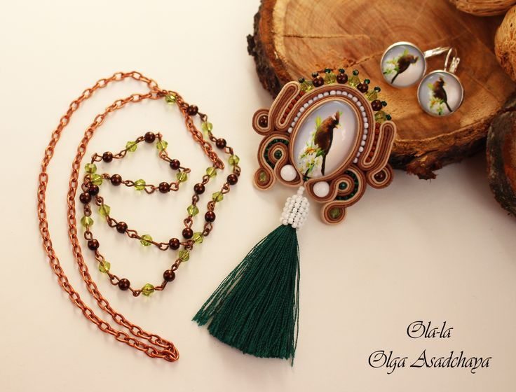 "Brooch-pendant and earrings ""Nut bird"" soutache, sugar white agate, glass beads, Japanese beads, pendant-brush"