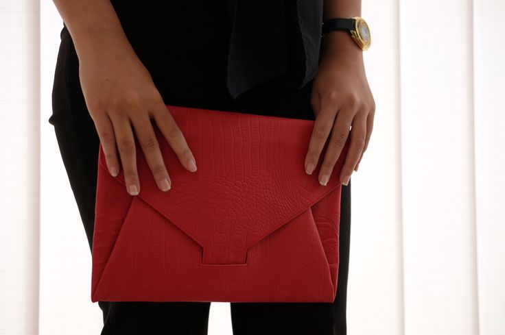 Red Blav Clutch  Genuine leather