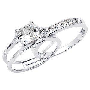 precious stars 14k gold princess cubic zirconia insert wedding setat walmart - Walmart Wedding Rings Sets