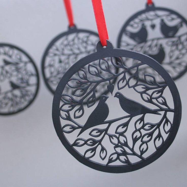 christmas bauble decoration set wooden laser cut by louise mclaren | notonthehighstreet.com