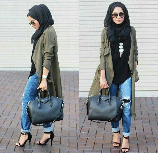 army green jacket + black shirt + ripped boyfriend jeans + heels + black scarf/hijab