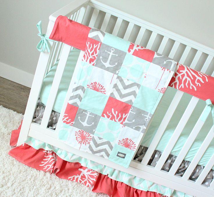 Ocean Baby Girl Crib Bedding, Coral, Mint, Gray Baby Bedding Set, Mermaid Nursery Bedding Set by GiggleSixBaby on Etsy https://www.etsy.com/listing/273691984/ocean-baby-girl-crib-bedding-coral-mint