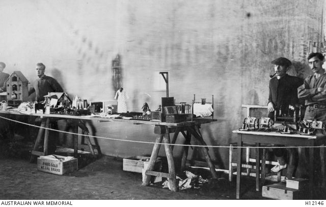 HOLSWORTHY, NSW. C. 1916. SOME OF THE TOYS MADE BY GERMAN INMATES AT HOLSWORTHY INTERNMENT CAMP WHICH WERE SENT AS CHRISTMAS GIFTS TO GERMAN CHILDREN AT THE BOURKE INTERNMENT CAMP.