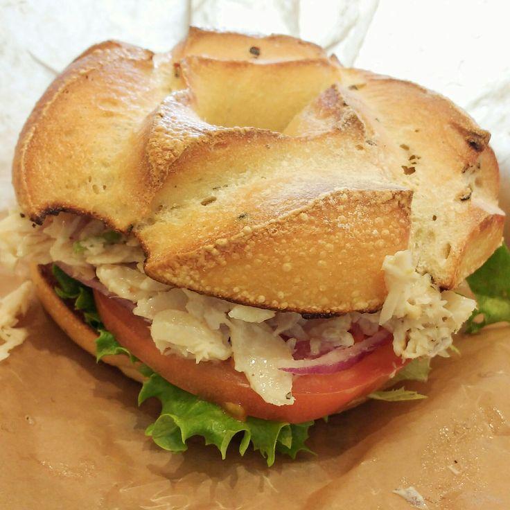 Noah's Bagels' new trout sandwich was a bit much at $8.50 but plenty tasty! The peppercorn potato bagel was a good match.