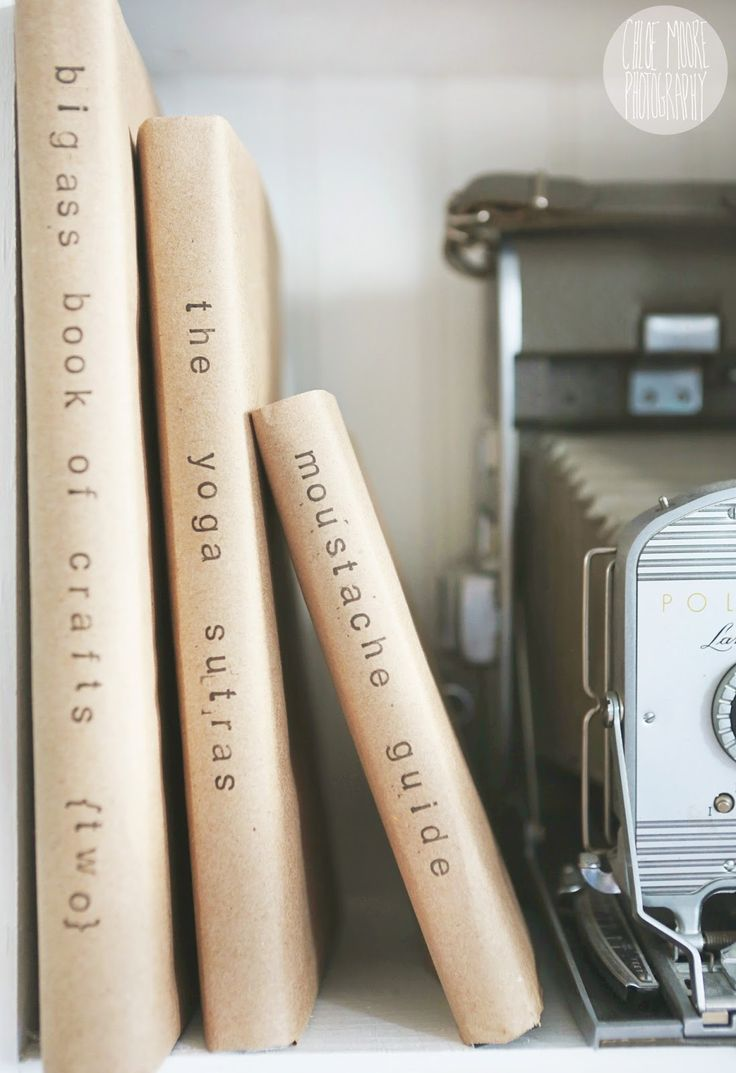 DIY kraft-paper stamped book covers from Chloe Moore Photography