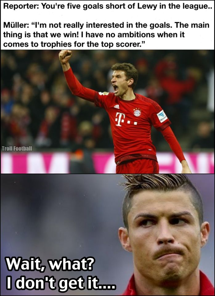Cristiano Ronaldo's reaction to Thomas Müller's quote