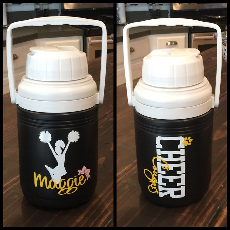 Personalized water jugs for cheer squad with name and team.