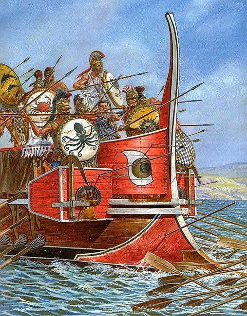 The Battle of Salamis was fought between an Alliance of Greek city-states and the Persian Empire in 480 BC, in the straits between the mainland and Salamis, an island in the Saronic Gulf near Athens. It marked the high-point of the second Persian invasion of Greece, which had begun that spring.